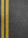 Yellow road markings. An asphalt road with yellow double line marking Royalty Free Stock Images