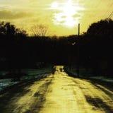 Yellow road. New York Nature Stock Image
