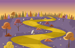 Yellow Road. On purple park with trees Royalty Free Stock Photography