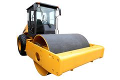 Yellow road-roller for the ground consolidation Royalty Free Stock Photos