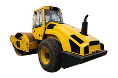 Yellow road roller isolated. On white with clipping path stock photo