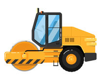 Yellow road roller  on white background Royalty Free Stock Photo