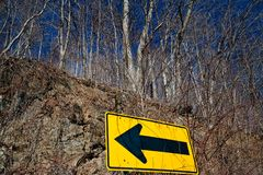 Yellow road sign Royalty Free Stock Images