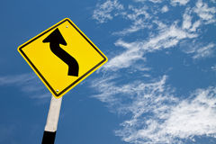 Yellow road sign Royalty Free Stock Photos