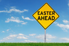 Yellow road sign with Easter word Stock Photography