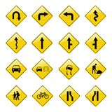Yellow road sign icons Stock Photos