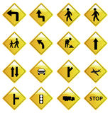 Yellow Road Sign Icons Set Royalty Free Stock Photo