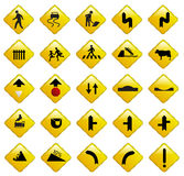 Yellow road sign icons vector. Stock Image