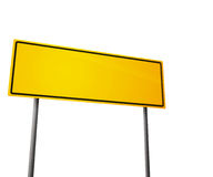 Yellow Road Sign Isolated on White Royalty Free Stock Images