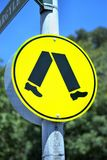 Yellow Road Sign Pedestrian Crossing Royalty Free Stock Photography