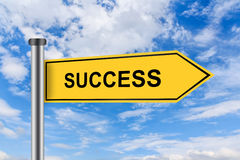 Yellow road sign with success words Stock Photo