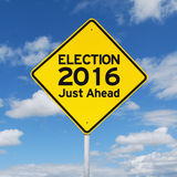 Yellow road sign toward election 2016 Royalty Free Stock Photo