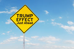 Yellow road sign and Trump Effect word Royalty Free Stock Photos