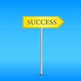Yellow Road Sign with Word Success Stock Image