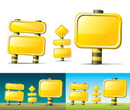 Yellow road signs Stock Image