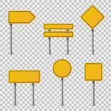 Yellow road signs. Blank traffic road empty warning caution attention stop safety shape danger boards street guide royalty free illustration