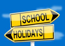 Yellow road signs with inscriptions school holidays. Illustration Royalty Free Stock Photography