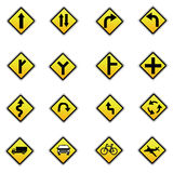Yellow road signs, traffic signs vector set on white background Royalty Free Stock Photo