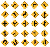 Yellow road signs Stock Photos