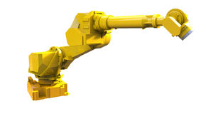 Yellow robot arm stock illustration