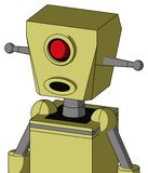 Yellow Robot With Box Head And Round Mouth And Cyclops Eye. Portrait style Yellow Robot With Box Head And Round Mouth And Cyclops Eye royalty free illustration