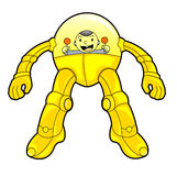 Yellow Robot Controlled by A Baby Stock Photo