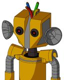 Yellow Robot With Mechanical Head And Black Glowing Red Eyes And Wire Hair. Portrait style Yellow Robot With Mechanical Head And Black Glowing Red Eyes And Wire vector illustration