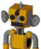 Yellow Robot With Mechanical Head And Keyboard Mouth And Three-Eyed And Spike Tip. Portrait style Yellow Robot With Mechanical Head And Keyboard Mouth And Three stock illustration