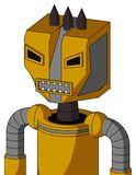Yellow Robot With Mechanical Head And Square Mouth And Angry Eyes And Three Dark Spikes. Portrait style Yellow Robot With Mechanical Head And Square Mouth And royalty free illustration