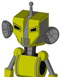 Yellow Robot With Mechanical Head And Vent Mouth And Angry Eyes And Single Antenna. Portrait style Yellow Robot With Mechanical Head And Vent Mouth And Angry vector illustration