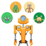 Yellow Robot with Retractable Round Eye Four Icons Royalty Free Stock Photo