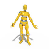 Yellow robot. The robot is standing in a pose of surprise on a white background royalty free illustration
