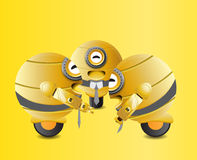 Yellow robots laughing together  Stock Photos