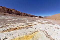 Yellow rock formations. In the Atacama desert, Chile Royalty Free Stock Photography