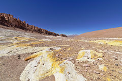 Yellow rock formations. In the Atacama desert, Chile Stock Images