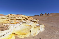 Yellow rock formations. In the Atacama desert, Chile Royalty Free Stock Image