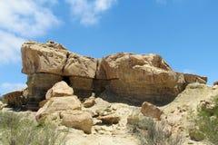 Yellow rock formations Valle de la Luna Ischigualasto Argentina Royalty Free Stock Photos