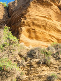 Yellow rock sediments Stock Images