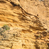 Yellow rock sediments Stock Photo