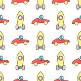 Yellow rocket and red car seamless vector pattern. Royalty Free Stock Images