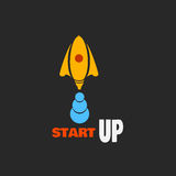 Yellow rocket - a symbol of the beginning of business Stock Photo