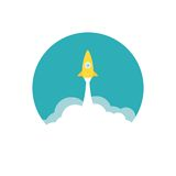 Yellow rocket and white cloud, circle icon in flat Stock Photos