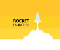 Yellow rocket and white cloud, icon in flat style Stock Photos