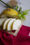 Yellow rockmelon and bamboo Stock Photography