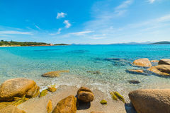 Yellow rocks under a blue sky. In La Celvia, Sardinia Royalty Free Stock Images