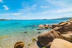 Yellow rocks under a blue sky in La Celvia. Sardinia Royalty Free Stock Photo