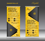 Yellow Roll up banner template vector, stand, flyer design, bann Royalty Free Stock Photography