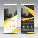 Yellow roll up business brochure flyer banner design , cover presentation abstract geometric background, modern publication. X-banner and flag-banner, layout in royalty free illustration