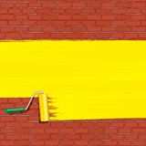Yellow Roller Brush Painting on Brick Wall. Vector Royalty Free Stock Photography