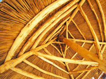 Yellow roof is made of cane. Bottom view stock images